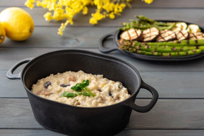 チーズホワイトリゾットとほくほく温野菜